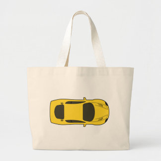 Yellow Sports Car Large Tote Bag