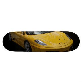 Yellow Sports Car Skateboard Deck