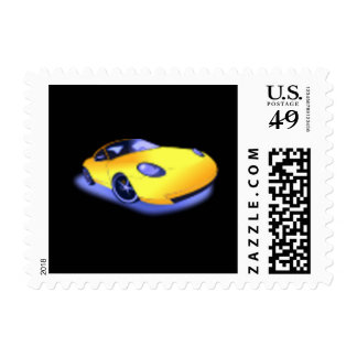 Yellow Sports Car US Postage Stamp
