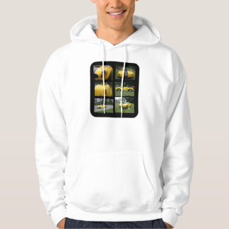 Yellow sportster with black stripes collage hoodie