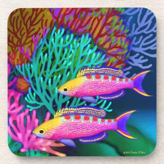 Yellow Spotted Anthias Reef Fish Cork Coaster
