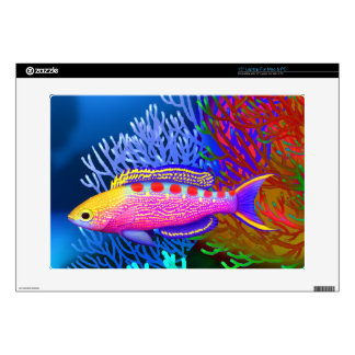 "Yellow Spotted Anthias Reef Fish Zazzle Skin 15"" Laptop Decals"