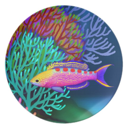Yellow Spotted Anthias Saltwater Reef Fish Plate