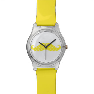 Yellow spotted moustache funky wristwatches