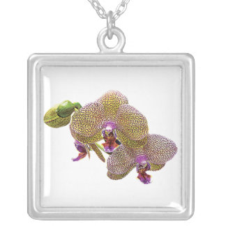Yellow Spotted Orchid Square Pendant Necklace