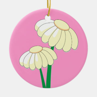 Yellow Spring bloom on Pink Ceramic Ornament