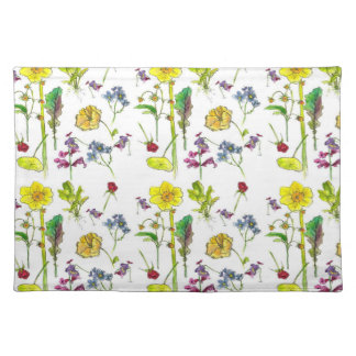 Yellow Spring Daffodil Botanical Watercolor Art Cloth Placemat