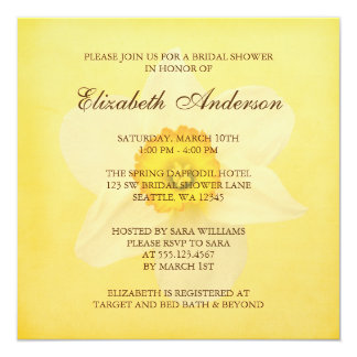 Yellow Spring Daffodil Flower Bridal Shower Card