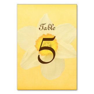Yellow Spring Daffodil Flower Table Cards
