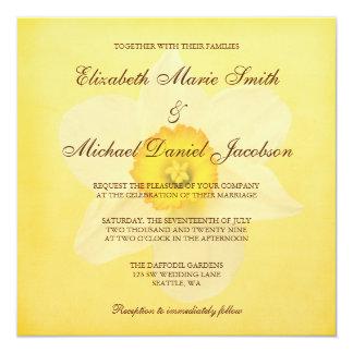Yellow Spring Daffodil Flower Wedding Card