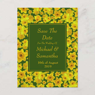 Yellow Spring Daffodil - Wedding Save The Date Announcement Postcard