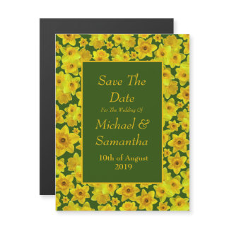 Yellow Spring Daffodil - Wedding Save The Date Magnetic Invitation