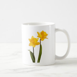 Yellow Spring Daffodils on White Classic White Coffee Mug