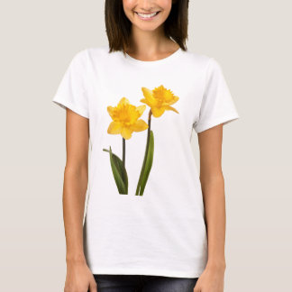 Yellow Spring Daffodils on White T-Shirt