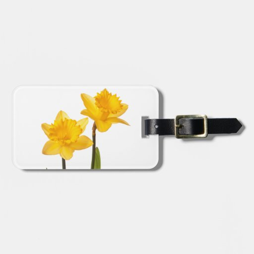Yellow Spring Daffodils on White Travel Bag Tag