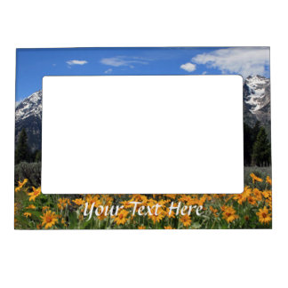 Yellow Spring Flowers Grand Teton Nat'l Park Magnetic Frame