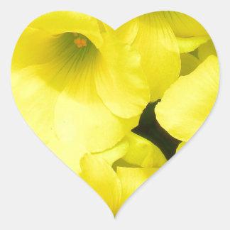 Yellow spring flowers in the garden heart sticker