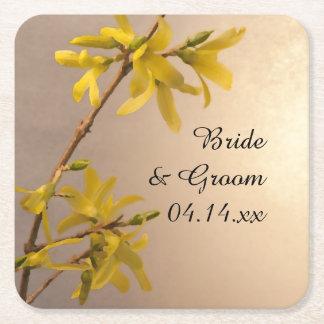 Yellow Spring Forsythia Flowers Wedding Square Paper Coaster