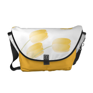 Yellow Spring Tulips Floral Messenger Bag