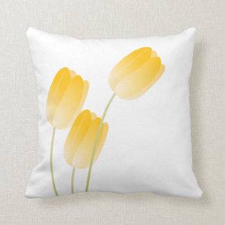 Yellow Spring Tulips Floral Pillow