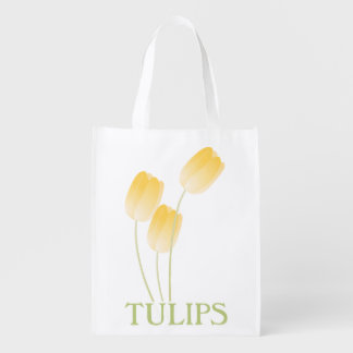 Yellow Spring Tulips Floral Reusable Grocery Bags