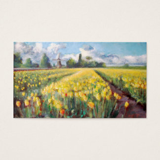 Yellow Spring Tulips Flowers Impressionist Art Business Card