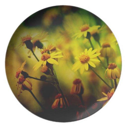 Yellow Spring Wildflowers melamine plate