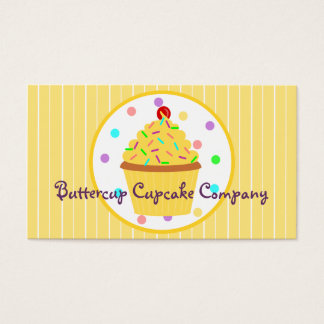 Yellow Sprinkles Cupcake Baker or Party Planner Business Card