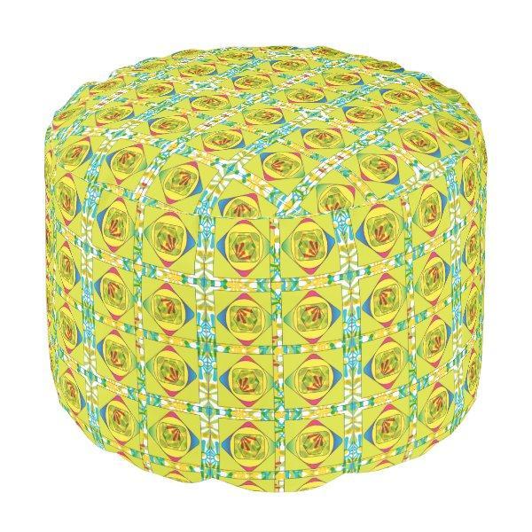 Yellow Square Diamond Cotton Pouf