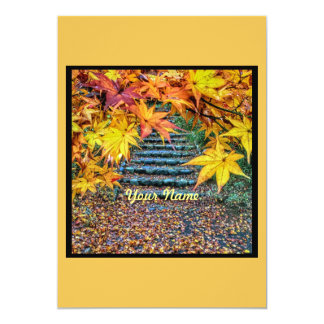 Yellow Square Photo Fall Template Autumn Leaves 5x7 Paper Invitation Card