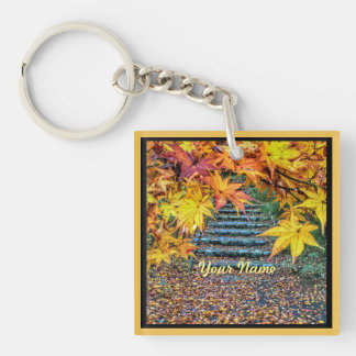 Yellow Square Photo Fall Template Autumn Leaves Keychain
