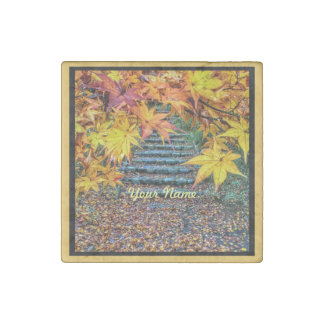 Yellow Square Photo Fall Template Autumn Leaves Stone Magnet