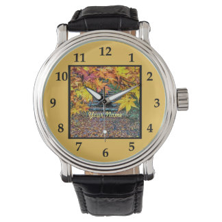 Yellow Square Photo Fall Template Autumn Leaves Wristwatches