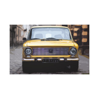Yellow Square Shaped Car in Old Town Canvas