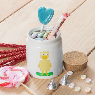Yellow Square Shaped Cartoon Duck Candy Jar
