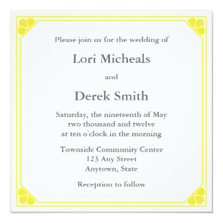 Yellow Square Wedding Invitations or Announcements