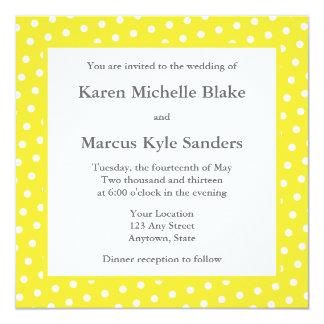 """Yellow Square Wedding Invitations or Announcements 5.25"""" Square Invitation Card"""