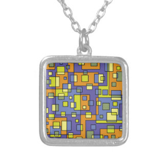 Yellow squares background silver plated necklace