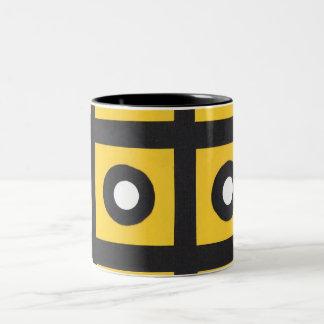 yellow squares black circles Two-Tone coffee mug