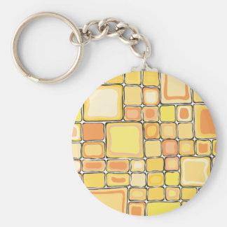 Yellow Squares Basic Round Button Keychain