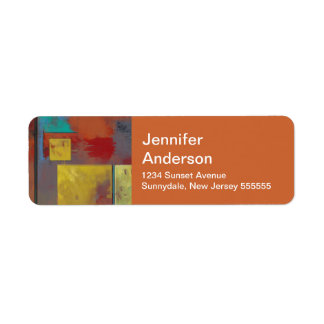 Yellow Squares No. 2 Abstract Adress Labels
