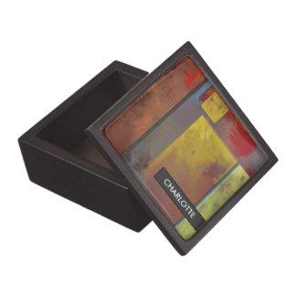 Yellow Squares No. 2 Abstract Art Trinket Box