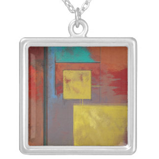 Yellow Squares No. 2 Silver Plated Pendant