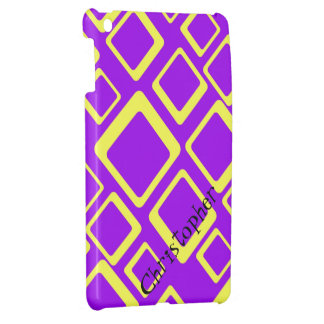 Yellow Squares on Purple iPad Mini Case Template