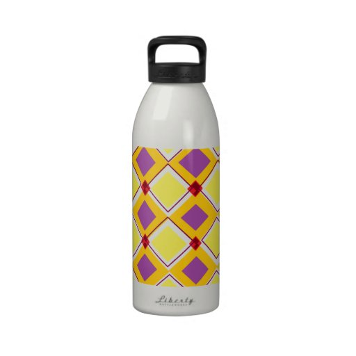 Yellow Squares Reusable Water Bottle
