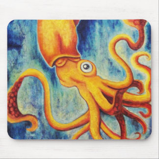Yellow Squid Floating in Ultramarine Ocean Mouse Pad