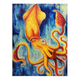 Yellow Squid Floating in Ultramarine Ocean Postcard