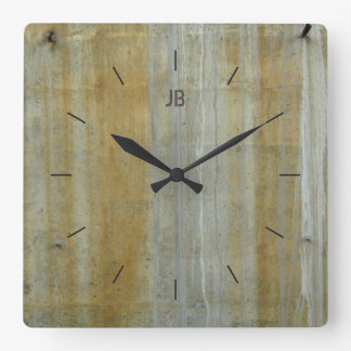 YELLOW STAINED CONCRETE | industrial decor Square Wall Clock