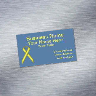 Yellow Standard Ribbon Business Card Magnet