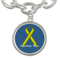 Yellow Standard Ribbon by Kenneth Yoncich Charm Bracelet
